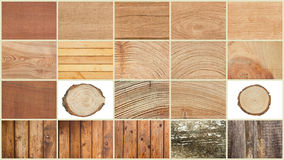 Collage of textures of wood Royalty Free Stock Images