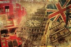 Collage texturisé de vintage des icônes de Londres Photos stock