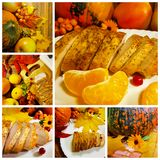 Collage Thanksgiving pumpkin turkey. Collage Thanksgiving day pumpkin turkey mandarin berry apple collection Royalty Free Stock Photos