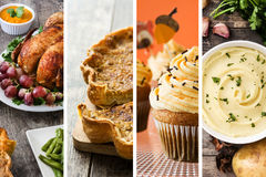 Collage of Thanksgiving food. Turkey, pumpkin pie, mashed potato and Thanksgiving cupcakes. Stock Photography