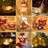 Collage on the theme of Christmas: Christmas toys, Christmas tre Royalty Free Stock Photos