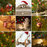 Collage on the theme of Christmas: Christmas toys, Christmas tre Royalty Free Stock Image