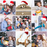 Collage on the theme of Christmas: Happy family, children, Chris Royalty Free Stock Image