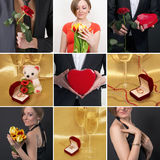 Collage on the theme of love. Wedding rings, glasses of wine, gi Royalty Free Stock Photography