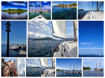 Collage the theme yacht and travel Stock Image