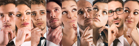 Collage thoughtful expressions royalty free stock photos
