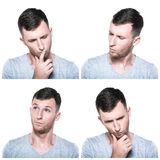 Collage of thoughtful face expressions Stock Images