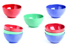 Collage of three colored bowls. Royalty Free Stock Photography
