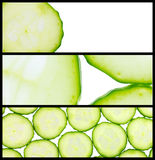 Collage of three cucumber images Royalty Free Stock Photography