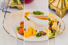 Collage of three kinds of dishes Catering service. Restaurant table with food. Huge amount of food on the table. Plates of food. D. Inner time, lunch royalty free stock images