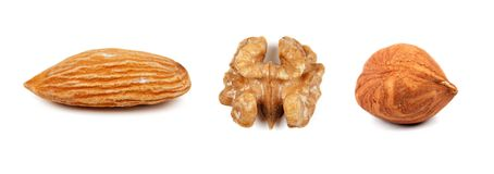 Collage of the three nuts Royalty Free Stock Photography