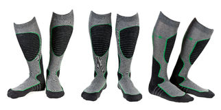 A collage of three pairs of gray ski socks. The image is composed of several images Royalty Free Stock Image