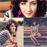 Collage of three photos of curly haired redhead women in a park Royalty Free Stock Photography
