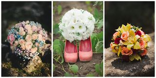 Collage of three photos of wedding bouquet. Lying on the ground Royalty Free Stock Images