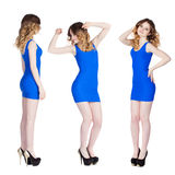 Collage, three sexy young women in blue dress Stock Image
