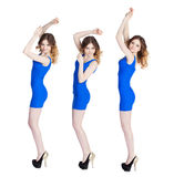 Collage, three sexy young women in blue dress Royalty Free Stock Photos