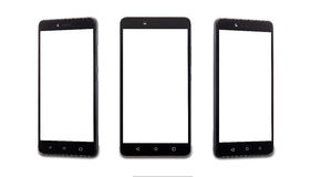 Collage of three smartphones with a white screen Royalty Free Stock Image