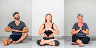Collage of three: Yoga students showing different yoga poses royalty free stock image