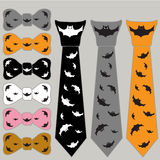 Collage ties and the bow tie for Halloween with bats Stock Photography