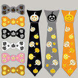 Collage ties and the bow tie for Halloween with pumpkin Royalty Free Stock Photo