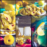 Collage tincture quince fruit apple alcohol intake Stock Photo