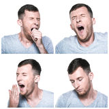 Collage of tired, sleepy face expressions Royalty Free Stock Photo