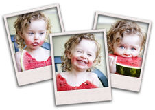 Collage of toddler  eating melon Stock Images