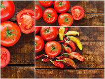 Collage of tomato and chilli peppers Royalty Free Stock Images