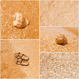 A collage of toned pictures of many beach items - flip-flops, shells,sand, sea water stock image