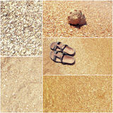Collage of toned pictures of many beach items - flip-flops, shells,sand, sea water Royalty Free Stock Image