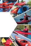 Collage on the topic of kayaking. Set of several pictures with a man and kayaks, sport collage Royalty Free Stock Images