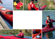 Collage on the topic of kayaking. Set of several pictures with a man and kayaks, sport collage Royalty Free Stock Photos
