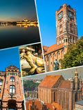 Collage of Torun in Poland, historic tenement houses. Royalty Free Stock Photos