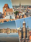 Collage of Torun in Poland, historic tenement houses. Royalty Free Stock Image