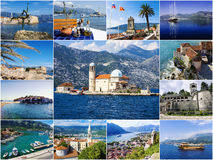 Collage of tourist attractions Montenegro.  Royalty Free Stock Photos
