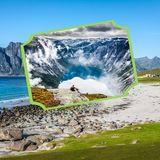 Collage of tourist photos of the Norway stock photo
