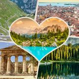 Collage of tourist photos of the Italy royalty free stock images