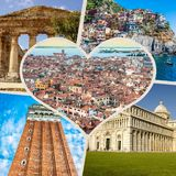 Collage of tourist photos of the Italy royalty free stock image