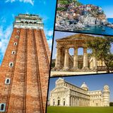 Collage of tourist photos of the Italy royalty free stock photo