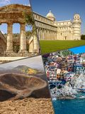 Collage of tourist photos of the Italy stock photography