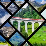 Collage of tourist photos of the Switzerland.  royalty free stock images