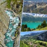 Collage of tourist photos of the Switzerland.  stock photos