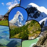 Collage of tourist photos of the Switzerland.  stock images