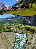 Collage of tourist photos of the Switzerland.  stock photo