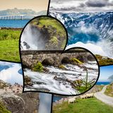 Collage of tourist photos of the Switzerland.  stock image