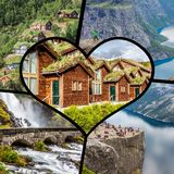 Collage of tourist photos of the Switzerland.  royalty free stock photo
