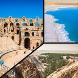 Collage of tourist photos of the Tunis. stock photos