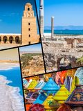 Collage of tourist photos of the Tunis. stock photography