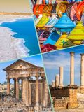 Collage of tourist photos of the Tunis. stock photo