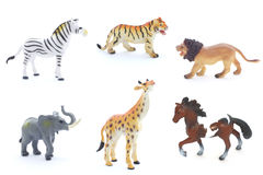 Collage of toy animals isolated on white background royalty free stock image